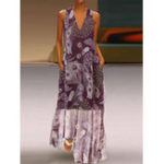 New Bohemian Sleeveless V-neck Pocket Floral Print Maxi Dress