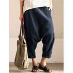 New Women Pure Color Cotton Elastic Waist Harem Pants