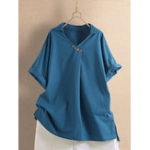 New Solid Color V-Neck Turn-down Collar Button Wowen Blouse