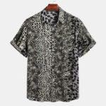 New Mens Leopard Printing Summer Casual Fashion Shirts