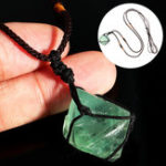 New DIY Natural Fluorite Octahedron Pendant Rough Crystal Specimen Necklace Healing Decorations