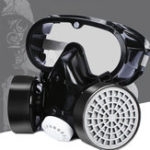 New PVC Dual Cartridge Gas Mask Full Face Respirator  Chemical Dust Proof Working Filter