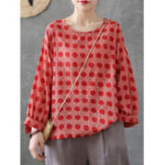 New Women Casual Printed O-Neck Long Sleeve Blouse