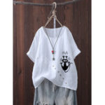 New Women Button Cartoon Cat Print Short Sleeve Summer T-shirts