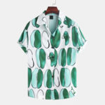 New Men Peas Printed Casual Short Sleeve Revere Collar Shirts