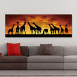 New DYC 10672 Single Spray Oil Paintings Giraffe Sunrise Landscape For Home Decoration Paintings Wall Art