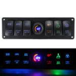 New 12V-24V 6 Gang LED Digital Voltmeter Marine Ignition Toggle Rocker Switch Panel