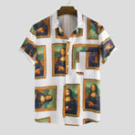 New Meno Lisa Printing Practical Pocket Short Sleeve Shirts
