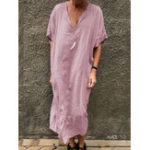 New Solid Color V-neck Short Sleeve Split Baggy Kaftan Dress