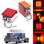 New 2pcs Car 39 LED Lights 12V Amber/Red Double Stud Mount Pedestal Cab Fender Dual Face Stop Turn Tail Signal Lamps