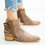 New Women Back Cross Ribbon Sticting Zipper Ankle Boots