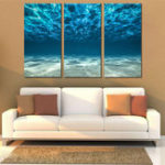 New Miico Hand Painted Three Combination Decorative Paintings Light Blue Seawater Wall Art For Home Decoration