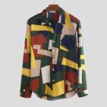 New Color Block Printing Long Sleeve Pocket Casual Shirts