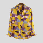 New Autumn Multi Color Block Printing Long Sleeve Casual Shirts