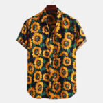 New Men Sunflower Printed Chest Pocket Summer Short Sleeve Lapel