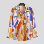 New Mens Corlor Block Printing Autumn Long Sleeve Casual Shirts