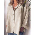New Women Casual Button Turn-Down Collar Solid Blouse