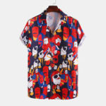 New Men Abstract Character Printed Casual Short Sleeve Lapel