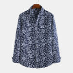 New Men Floral Printed Retro Style Casual Long Sleeve Lapel