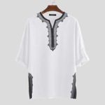 New Mens Ethnic Style Half Sleeve V Neck Casual Shirts