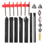 New 21PCS 10mm Lathe Solid Carbide Inserts Turning Tool Holder Boring Bar With Wrenches For Lathe Cutting Tools
