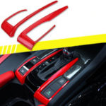 New 2 X Red Interior Car Gear Shift Panel Frame Cover Trim For Honda Civic 10th 2016-2018