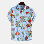 New Men Funny Plant Printed Summer Lapel Short Sleeve Shirts