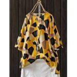 New Half Sleeve Floral Print O-neck Split Vintage Blouse