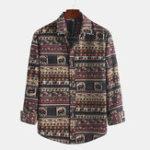New Mens Fashion Floral Printed Autumn Long Sleeve Shirts