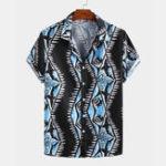 New Men Ocean Shark Printed Retro Style Casual Short Sleeve