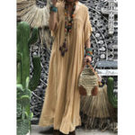 New Women Short Sleeve Hollow Out Robe Kaftan Solid Maxi Dress