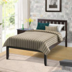 New Double Deluxe Wood Platform Bed with Headboard Wood Slat Support Spring