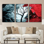 New Miico Hand Painted Three Combination Decorative Paintings Botanic Tree Wall Art For Home Decoration