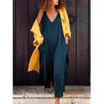 New Women Pure Color Cotton V-Neck Sleeveless Pockets Jumpsuit