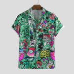New Mens Character Printing Turn Down Collar Casual Shirts