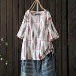New Women Retro Floral Print Crew Neck Short Sleeve Blouse