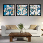 New Miico Hand Painted Three Combination Decorative Paintings Oak flower Wall Art For Home Decoration