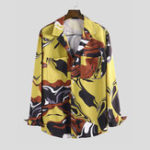 New Mens Graffiti Printing Double Big Pockets Long Sleeve Shirts