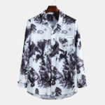New Mens Chinese Landscape Painting Printing Long Sleeve Shirts