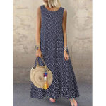 New Bohemian Sleeveless O-neck Polka Dot Print Maxi Dress