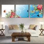 New Miico Hand Painted Three Combination Decorative Paintings Dancing Botanic Peony Flower Wall Art For Home Decoration