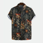 New Men Printed Retro Style Summer Casual Short Sleeve Lapel
