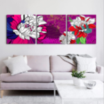 New Miico Hand Painted Three Combination Decorative Paintings Botanic Lotus Wall Art For Home Decoration