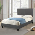 New Faux Linen Upholstered Platform Double Bed Frame Wood Slat Support