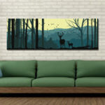 New DYC 10683 Single Spray Oil Paintings Cartoon Deer Forest Landscape For Home Decoration Paintings Wall Art