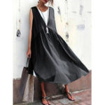 New Women Casual Pure Color Cotton Loose Sleeveless Dress