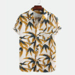New Mixed Color Leaf Print Cotton Short Sleeve Shirts