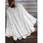 New Women Pure Color Hollow Out Lace Patchwork 3/4 Sleeve Blouse