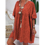 New Women Loose Hollow Out Lace Patchwork V-Neck Dress