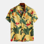 New Men Leaf Printed Tropical Hawaiian Style Short Sleeve Revere